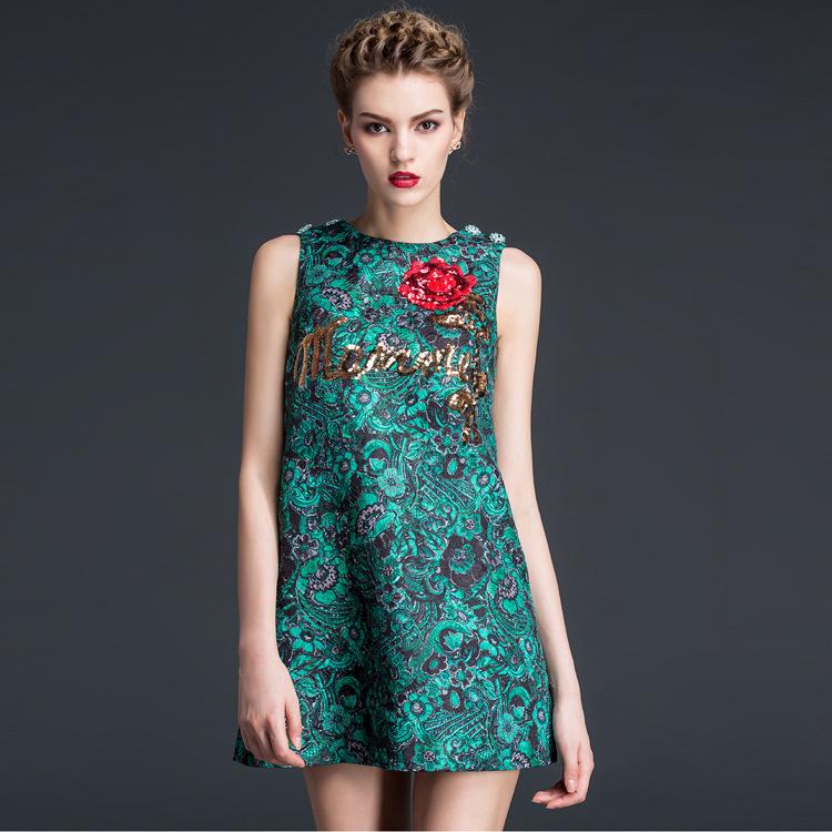 new arrival 2015 autumn women luxury brand diamonds beading sequined rose jacquard mini shift dress sleeveless dressesОдежда и ак�е��уары<br><br><br>Aliexpress
