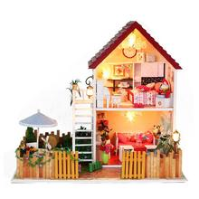 Christmas Birthday New Year Gift Model Building Hand Made DIY Wooden Music Box Doll House Casa de boneca Mini Dollhouse(China (Mainland))