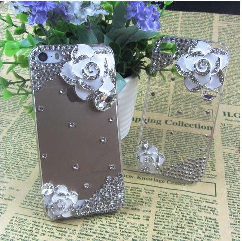 Luxury Crystal Rhinestone phone case Flower Crystal Rhinestone Case for iphone5 5s Transparent Clear hard Bling Diamond cover C(China (Mainland))