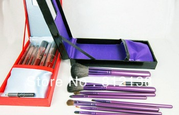 Free shipping  high quality  goat hair Make up Brush 10PCS  Set  With  gift box , pouch and mirror, M10P
