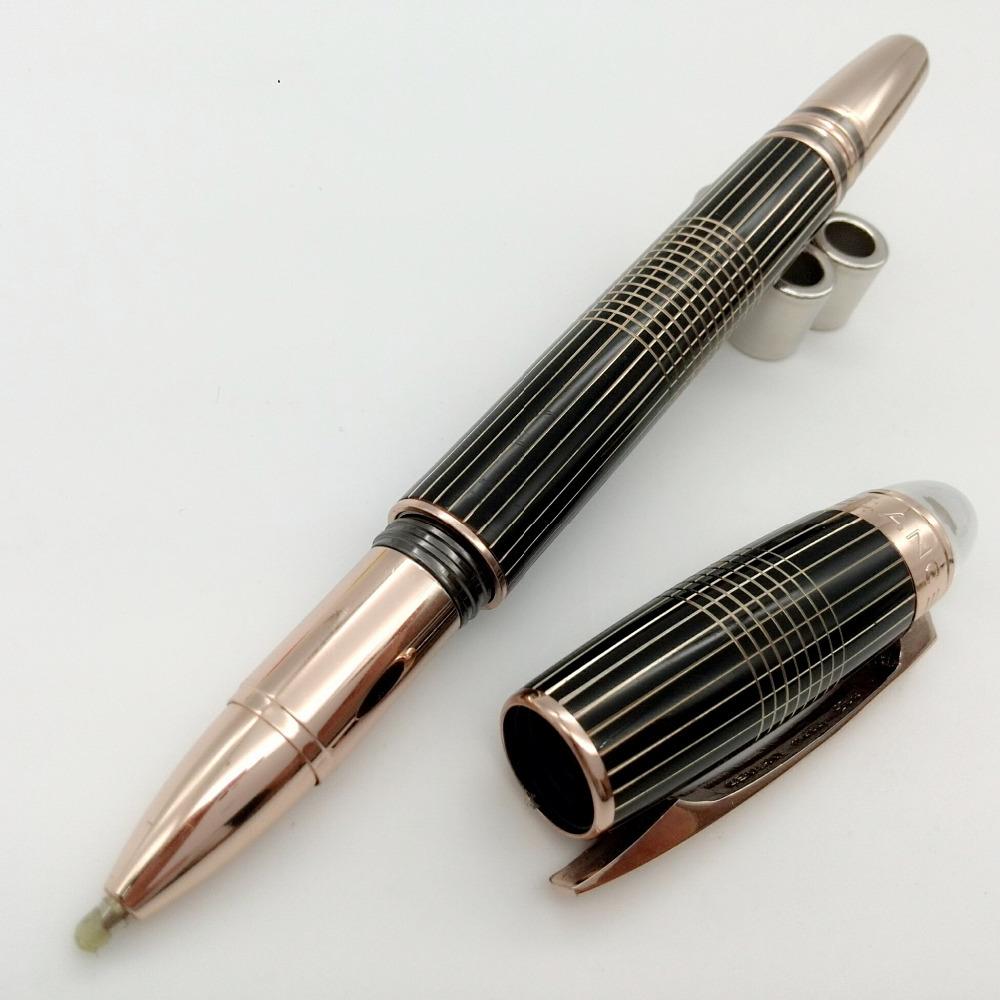 New Desgin MB metal grid lined rose gold ball pen crystal top executive supplies metal writing pen(China (Mainland))