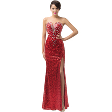 New! High Split Evening Dresses Party Gowns Crystal Sequins Formal Evening Dress Gown Red Carpet Long Prom Dresses 2017 6102(China (Mainland))