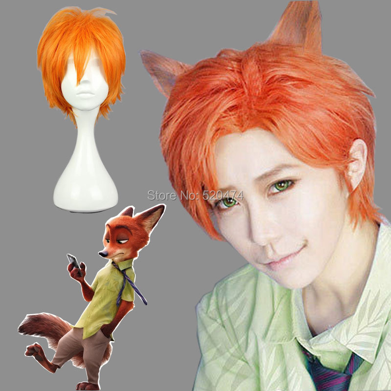 Zootopia Fox Nick Cosplay Wig Orange Synthetic Hair 30cm Short Straight Anime Lolita Cos Wig<br><br>Aliexpress