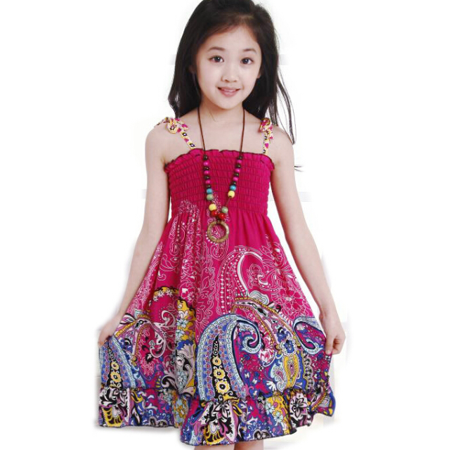 3-12T! New Summer 9 Style Girls Dress Fashion Knee-length Beach Dresses For Girls Sleeveless Bohemian Children Dresses(China (Mainland))