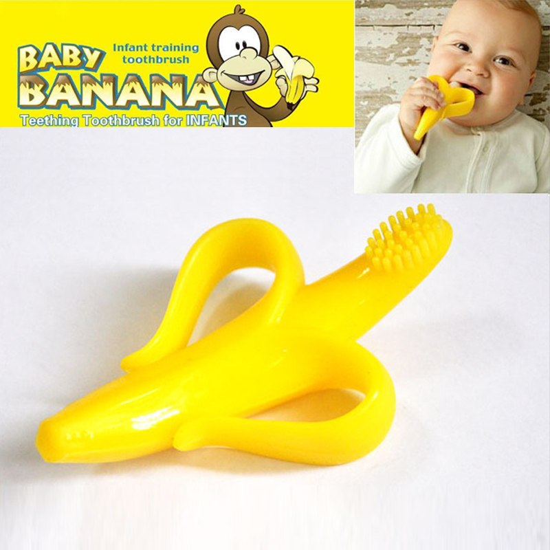 New Cheapest High Quality And Environmentally Safe Baby Teether Teething Ring Banana Silicone Toothbrush Free Shipping Z&L(China (Mainland))