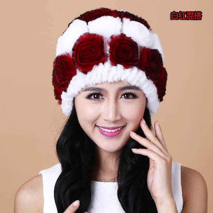 Fur hat rex rabbit hair fur women's rabbit hat knitted hat knitted cap ear protector(China (Mainland))
