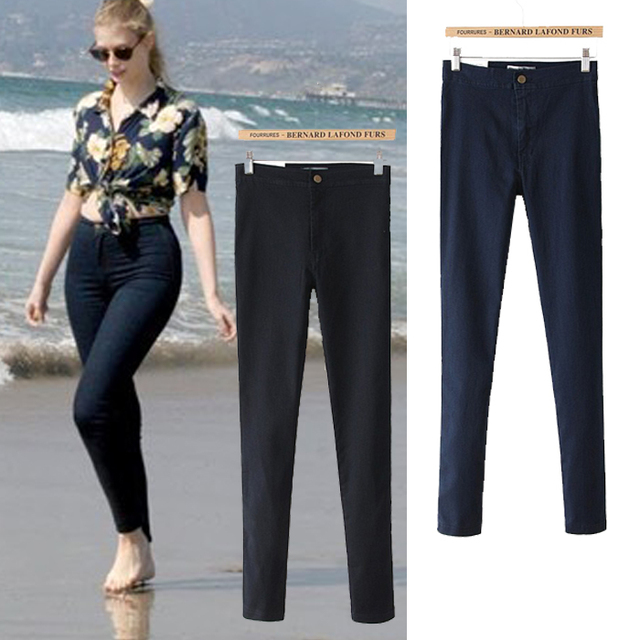 New Jeans Women Pencil Pants High Waist Jeans Slim Elastic Skinny