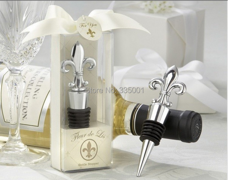 wedding favor gift and giveaways Chrome Fleur de Lis Wine Bottle ...