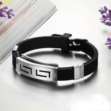 2015 Hot Sale Men's Black Punk Rubber Stainless Steel Wristband Clasp Cuff Bangle Bracelet pulseira de aco com borracha(China (Mainland))