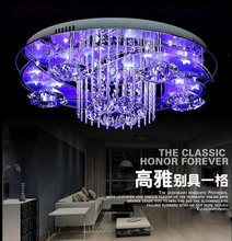 2015 living room K9 crystal led ceiling light modern with remote control bed room foyer lustre crystal luminarias para sala(China (Mainland))