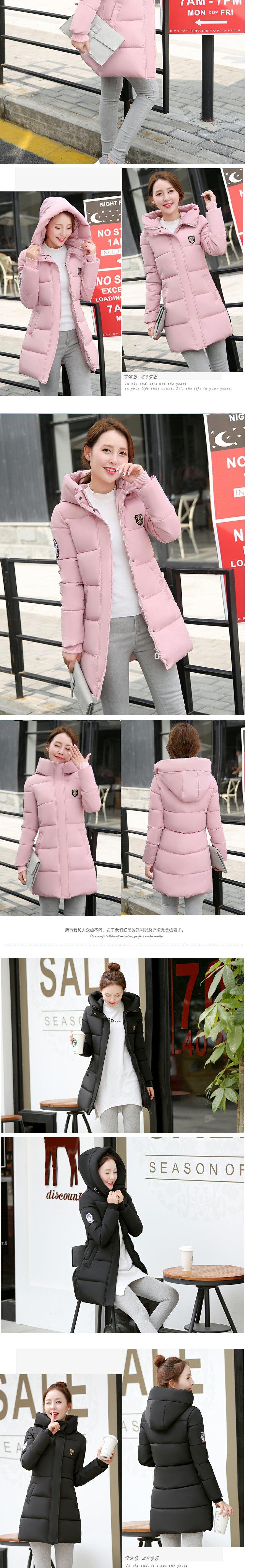 Скидки на 2016 Осень зимняя куртка повседневная женщины с длинным рукавом с капюшоном средний длинные парки новый твердые тонкий теплый розовый хлопок ватник mujer