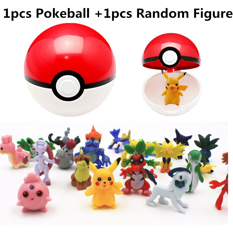 7CM PokeBall+3CM Poke Monsters Action Figure PVC Anime Cute Pikachu Monsters PokeBall Kids Toys #E(China (Mainland))