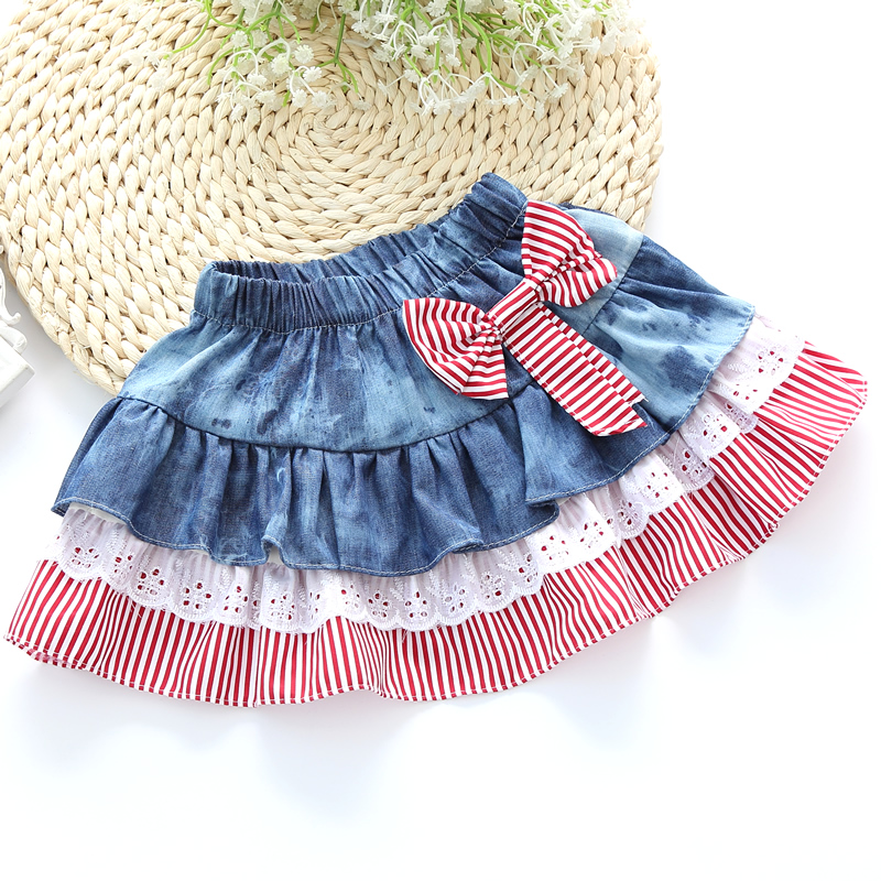 2016 New Girls Summer Denim Bow Skirts Girls Printed tutu Jeans Skirt Baby Girls Party Skirts Kids clothes 2color(China (Mainland))
