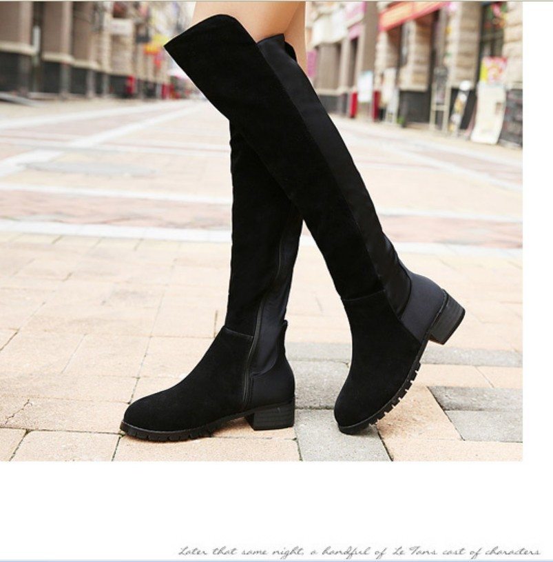 brand new women Over Knee HIgh tall knight ridding boots faux suede stretch winter warm ski snow booties casual shoes 35-41(China (Mainland))