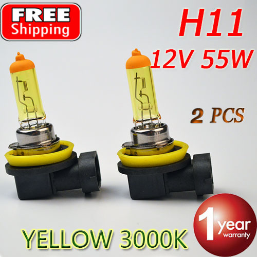2 Pieces 12V 55W H11 Yellow Halogen Bulb PGJ19-2 3000K Auto Lamp Quartz Glass Car Fog Light FREE SHIPPING(China (Mainland))