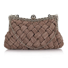 2014 knitted diamond women's day clutch Hot evening bag bride clutch with Chains tote party bag for evening dress(China (Mainland))