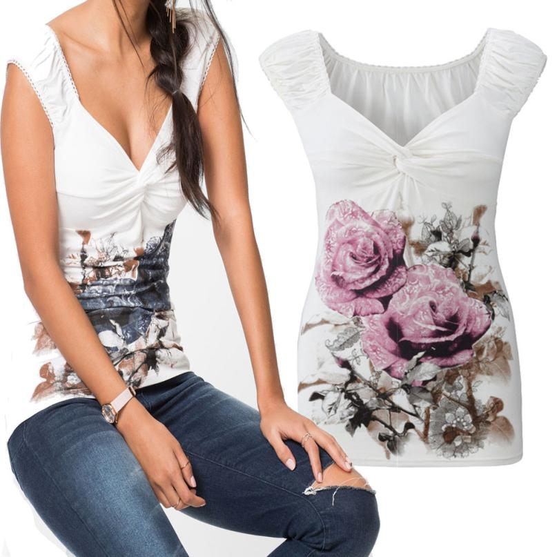 2XL Plus Size 2017 New Women Summer New Style T-shirt Floral Print Sleeveless Casual Loose Tops Basice harajuku Tee mujer femme