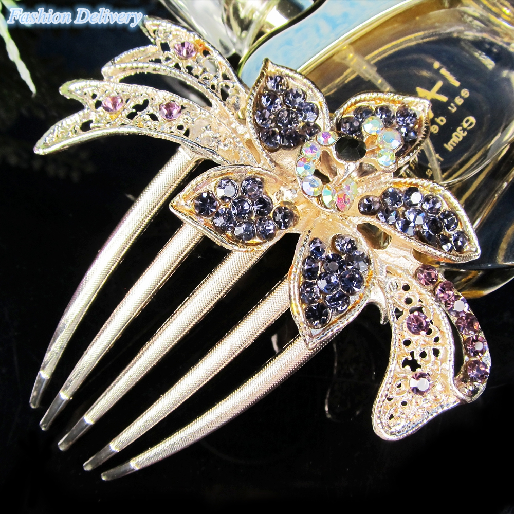 Purple Delicate Hair Jewelry Crystal Sparkling Tiaras Prom Wedding Hair Accessories Combs For Hair Women Girls Hair Decorations(China (Mainland))
