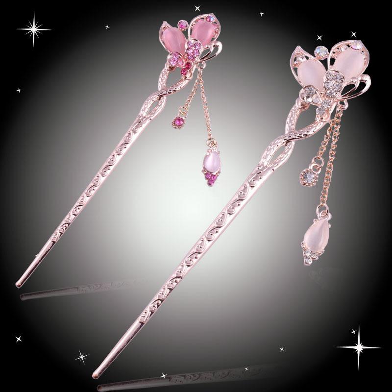 Hot Sale !!! new design fashion rhinestone opal butterfly Hair Sticks six colors! Trendy Zinc Alloy Hairwear(China (Mainland))