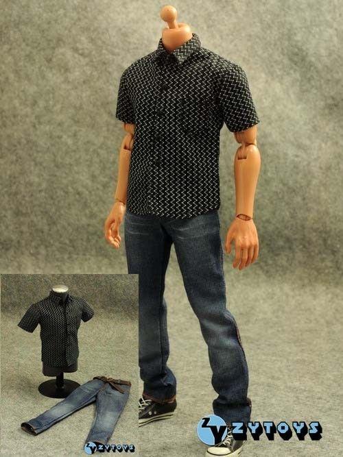 1/6 Black Streak Shirt Jeans Figure Hot Pants Suit Enterbay DID TTL Jacket - super toy store