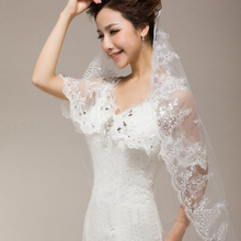 1 Layer Wedding Bridal Veil Lace Applique Beaded Edge Embroidery Noble Cathedral(China (Mainland))