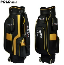 Genuine POLO New Standard Ball Bag Clubs Package Professional Travel Packing Bag Male Trolley Wheels Waterproof PU Nylon Cover(China (Mainland))