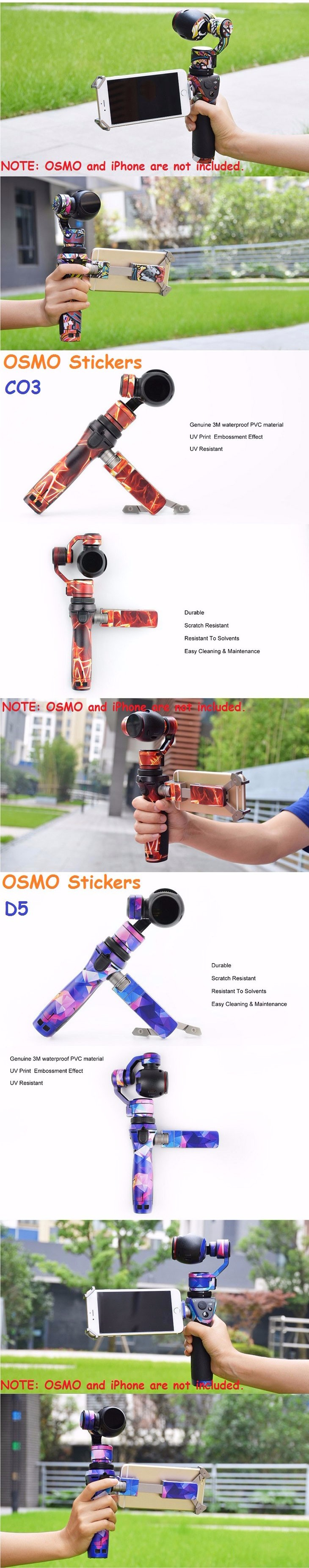 OSMO Stickers Waterproof PVC Decals Skin Wrap Cover 3M Film Accessories for DJI OSMO Handheld Gimbal 4K Camera