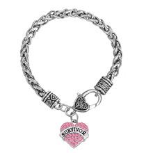 European & American Breast Cancer Awareness Crystal Heart Survivor Bracelet Jewelry(China (Mainland))