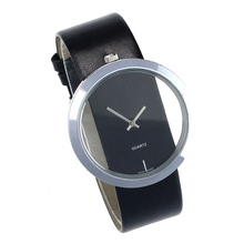 Big Dial reloj mujer Transparent Hollow Ladies Watches Simple Faux Leather Watches for Women Analog Quartz Watch