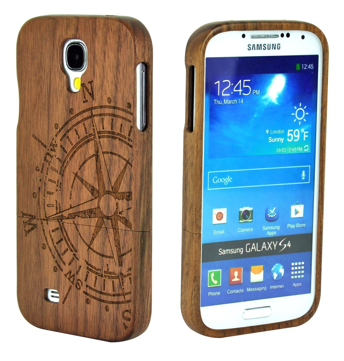 Unique Handmade Natural Wood Wooden Walnut Compass Hard bamboo Case Cover For Samsung Galaxy S4 SIV i9500/S5 Neo/S6/A3 A5 2015(China (Mainland))