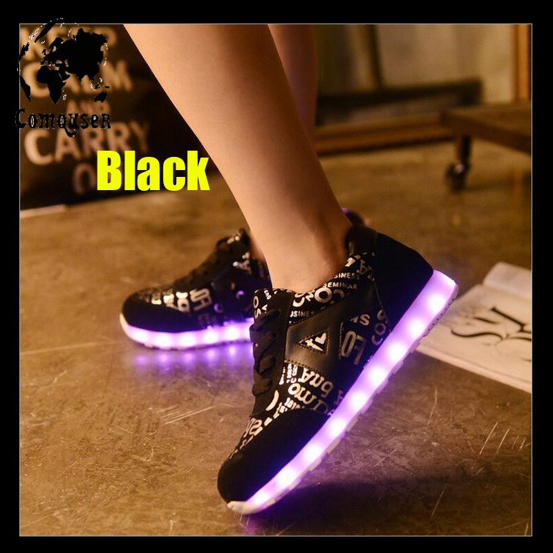 Unisex Leather Suede Shoes for Adults Men Casual Shoes Women Spring 2016 Glowing Ankle Boots Light Up Luminous Shoes LED High <br><br>Aliexpress