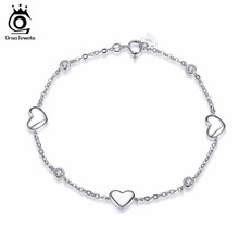 ORSA JEWELS 925 Sterling Silver Bracelet for Women with 3 Pieces Genuine 925 Silver Heart Charm Bracelets Party Jewelry SB02(China (Mainland))