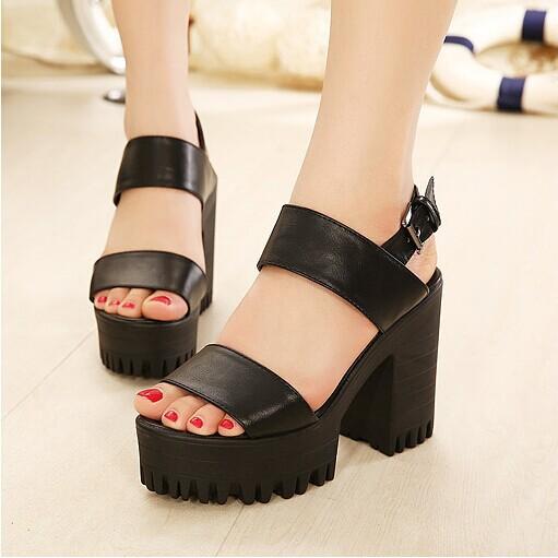 Sandalias de las mujeres Nuevos 2016 Zapatos Del Verano Sandalias de Punta Abierta Plataforma Del Talón
