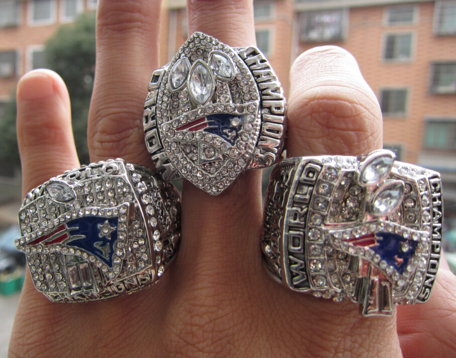 Free Shipping 2001 2003 2004 New England Patriots  Super Bowl  Championship Ring three rings together solid fashion wholesale<br><br>Aliexpress