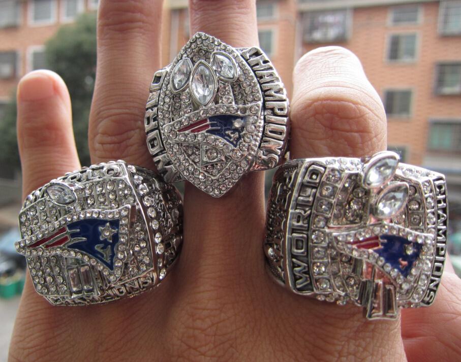 Free Shipping 2001 2003 2004 New England Patriots Super Bowl Championship Ring three rings together solid fashion wholesale(China (Mainland))