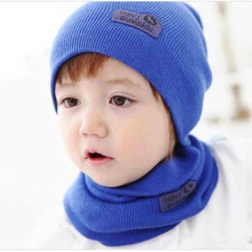 High Quality New Fashion 6Colors Cute Winter Baby Cap Girls/Boys Children Knitted Hat and Scarf Set(China (Mainland))