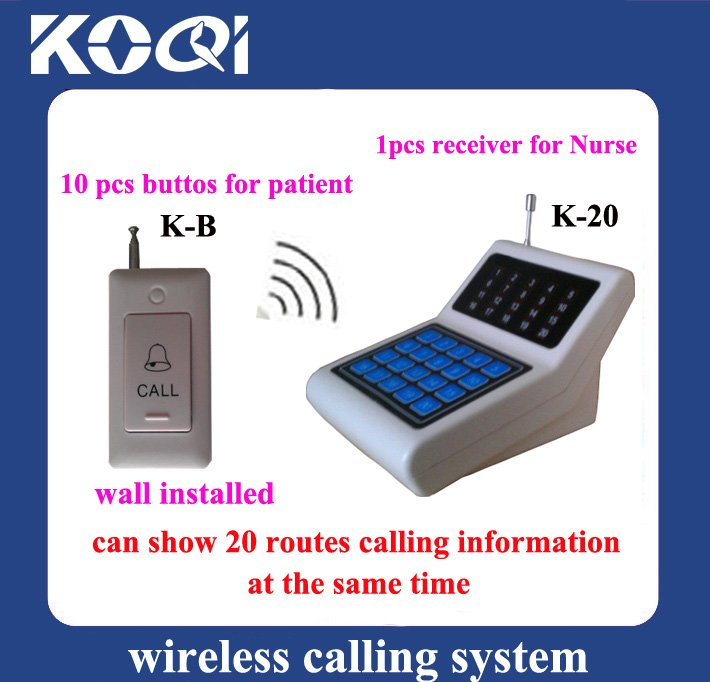 Nursing Call System ; Can show 20 callings from patient at the same time ;Full set include 10pcs call button and 1 pcs receiver(China (Mainland))