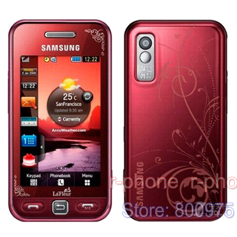 Refuribished Original SAMSUNG S5230 S5230c La Fleur Mobile Phone Unlocked 3.0'' Touchscreen Bluetooth S5230 RED Cellphones(China (Mainland))