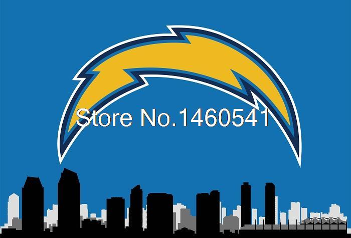 San Diego Chargers With San Diego City Skyline Flag 3ft X