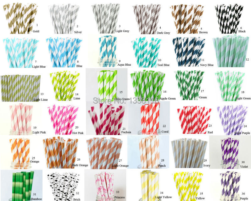 Hot Sale 100pcs Your Choice of Color Paper Straws For Kids Birthday Party Wedding Decorations Paper Drinking Straws(China (Mainland))