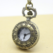 PS017B 12pcs/lot Vintage antique roman numerals brass small size pocket watch necklaces, free shipping(China (Mainland))