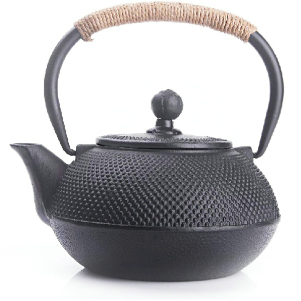 Free shipping 800ml japanese style antique metal black kettle cast iron chinese kung fu teapot - Japanese teapot with strainer ...