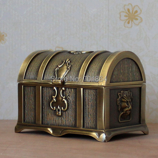Mid Size Vintage Bronze Color Pirates of the Caribbean Treasure Box Chest Fashion Metal Jewelry Case Trinket Alloy Gift Box(China (Mainland))