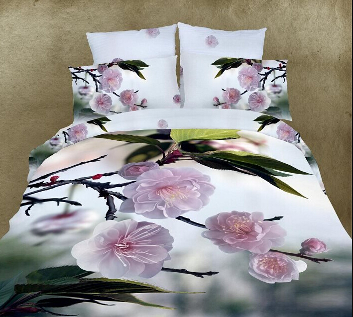 4PCS full queen Free shipping 3D pink flowers green white floral shabby chic bedding girl comforter set bedding set duvet covers(China (Mainland))