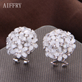 Aiffry Jewelry Fashion Stud Earrings Silver Gold Plated Full Flower Round Austrian Crystal Earing Bijoux Pendientes