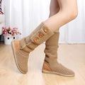 Woolen shoes women boots Mid Calf Buckle Strap Rubber shoes Flat with warm shoes Khaki Black