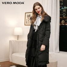 Vero Moda новый с капюшоном съемный рукав боковой молнии плед длинный пуховик женский | 318312502(China)