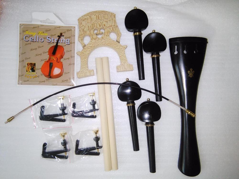 Ebony Cello Parts with Brass Decoration+Cello String adjuster+Nylon tail gut+sound post+cello bridge etc all 4/4(China (Mainland))