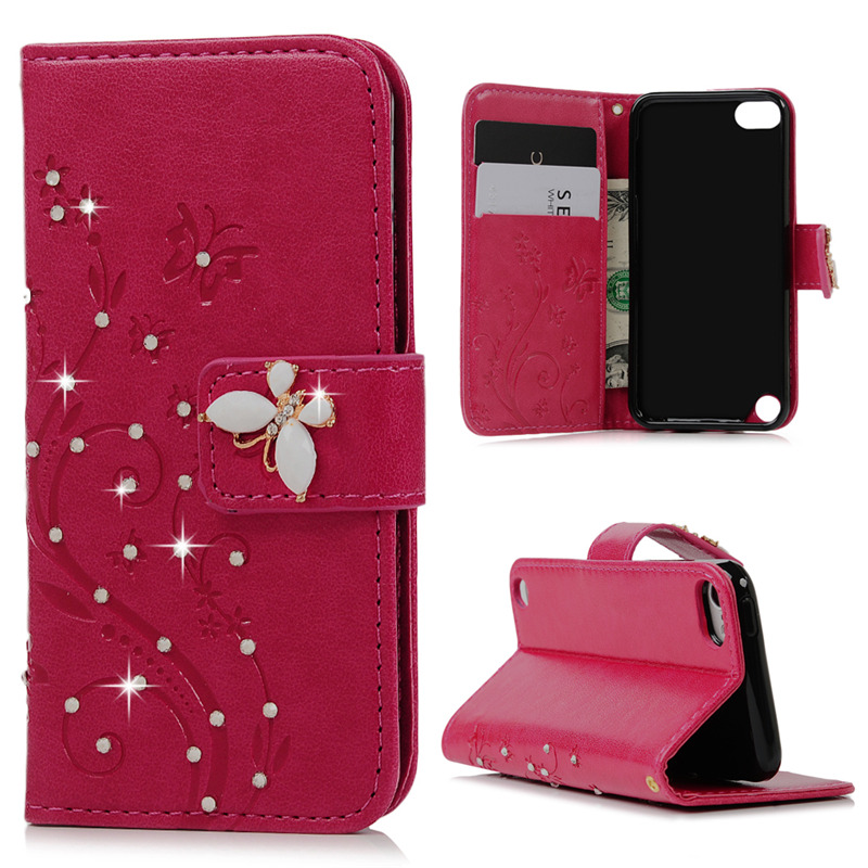 Luxury Case For Apple iPod Touch 5 6 PU Leather Flip Stand Wallet Case Cover 3D Glitter Bling Diamond Flower Shell for Touch 5 6(China (Mainland))
