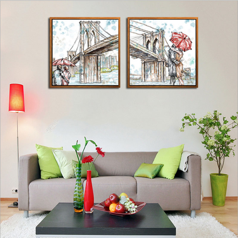 Arts Hand Painted Oil Painting Landscape For House Decoration Romantic Couple Kiss Under The